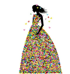 Woman dressed in spring flowers and butterflies vector