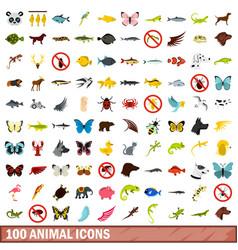 100 animal icons set flat style vector image