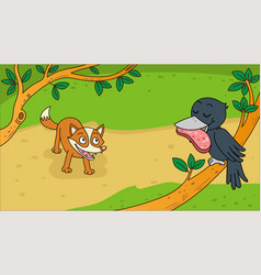 Aesops fable the fox and the crow vector