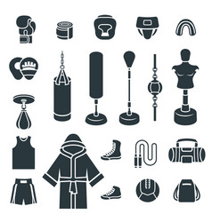 boxing icons flat silhouettes icons vector image vector image