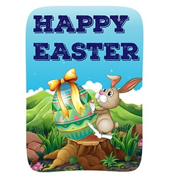 Easter bunny with decorated egg vector