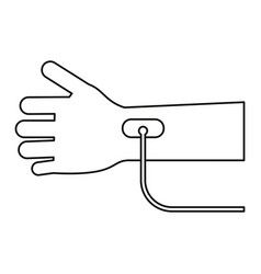 hand transfusion drop thin line vector image