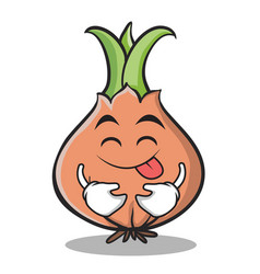 Tongue out onion character cartoon vector