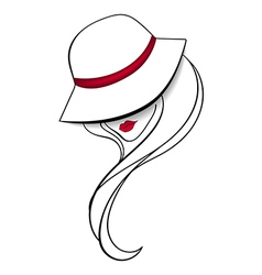 Women in a vintage hat vector image