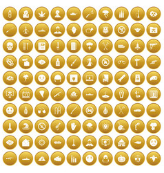 100 oppression icons set gold vector image vector image
