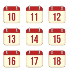 calendar app icons 10 to 18 days vector image