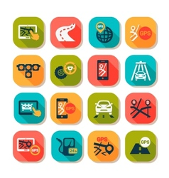 flat auto icons set vector image