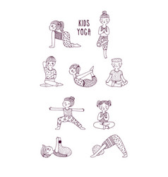 kids yoga set children perform exercises asanas vector image