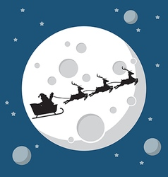 Santa Claus and his reindeer sleigh in silhouette vector image