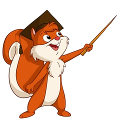 Squirrel in graduated hat with pointer vector image