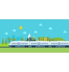 Train on railway with forest and mountains vector image vector image