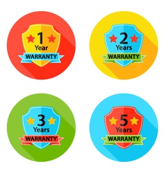 Warranty Flat Circle Icons Set 2 with Shadow vector image