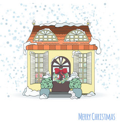 christmas and new year house invitation card vector image