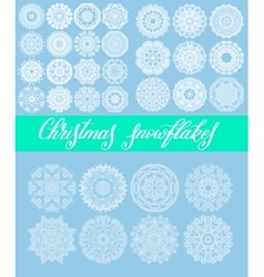 christmas snowflake decoration set isolated on vector image