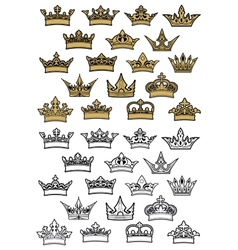 Imperial and royal crowns heraldic set vector image vector image