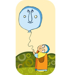 little boy balloon vector image