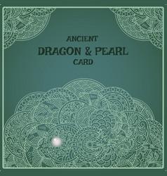 Indigo oriental pearl dragon card vector
