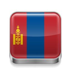 Metal icon of Mongolia vector image
