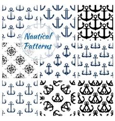 Nautical navy seamless patterns set vector