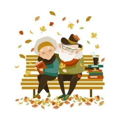 Old couple in love sitting on bench vector image vector image
