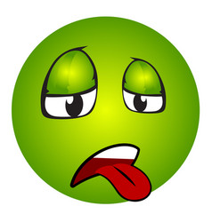 sick emoticon with tongue out vector image