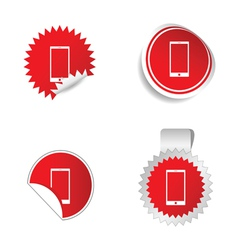 telephone sticker red vector image vector image