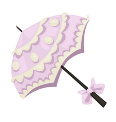 1900s style umbrella with lace and bow isolated vector