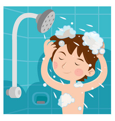 A child taking shower and he wash head with vector