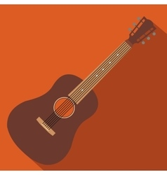 Acoustic guitar flat icon vector image