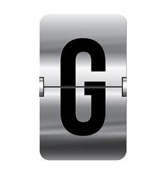 Alphabet silver flipboard letters g vector