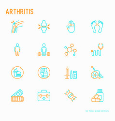 Arthritis thin line icons set vector