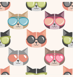 background with funny cats with summer sunglasses vector image