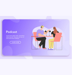 banner podcast concept vector image