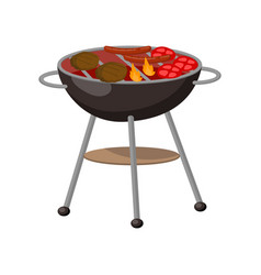 Barbecue party grill with steaks cutlets vector