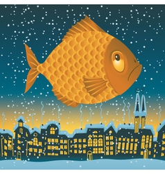Big fish flies vector