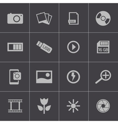 black photo icons set vector image