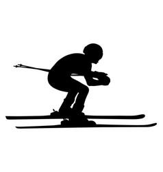 black silhouette athlete skier vector image