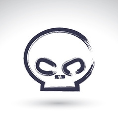 Brush drawing simple human skull painted medicine vector image