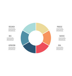 Business infographics circle with 6 parts vector