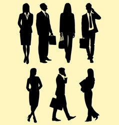 business people at work silhouette vector image