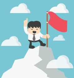 Businessman climbing atop peak vector