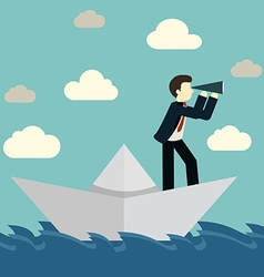 Businessman is sailing on paper boat in ocean vector