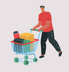 buying items on sale man with shopping cart vector image