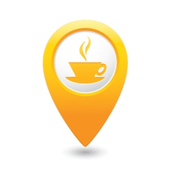 Cafe icon yellow map pointer vector