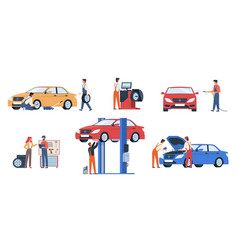Car service workers people in repair process vector