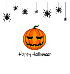 Card with halloween pumpkin and spider vector