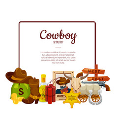 cartoon wild west elements isolated on vector image