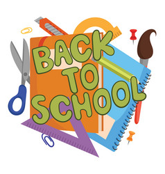 cartoon with school things and the vector image