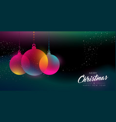 christmas and new year glow decoration card vector image