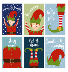 christmas card collection with elves vector image